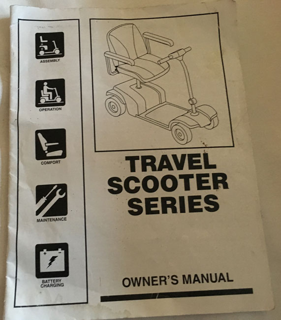 Used Owners Manual For A Rascal Mobility Scooter S6158