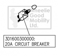 New Circuit Breaker 20amp Drive Prism Phoenix 4-Wheel Mobility Scooter
